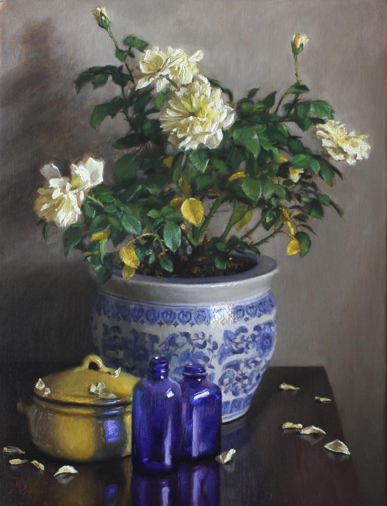 White Roses - 2014 - Oil on Linen - https://from1artist2another.wordpress.com/2015/03/28/michael-devore-painter-us-colorado/