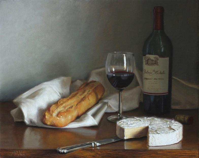 Brie-and-Cabernet-2015-oil-on-linen-16x20in-40x50cm Dandelions - Michael DeVore - https://from1artist2another.wordpress.com/2015/04/01/michael-devore-painter-us-colorado/