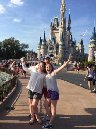 In front of the iconic Cinderella castle with my friend