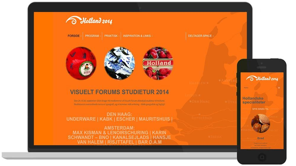 WordPress-hjemmeside: Visuelt Forum Studietur Holland