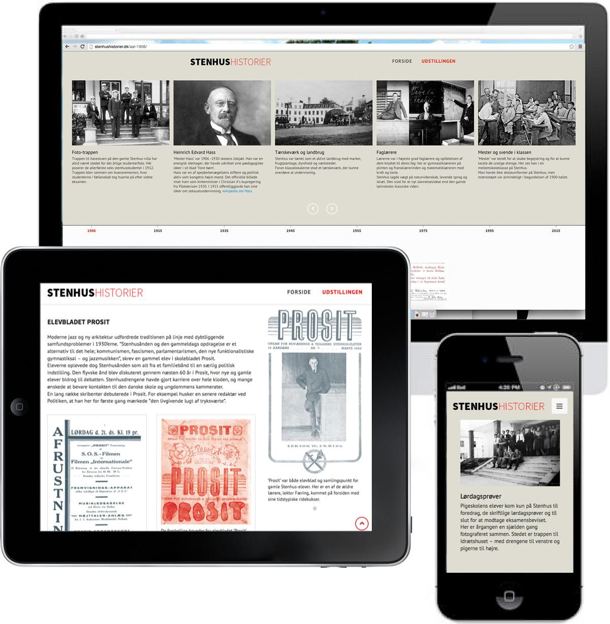 Stenhushistorier - responsivt webdesign