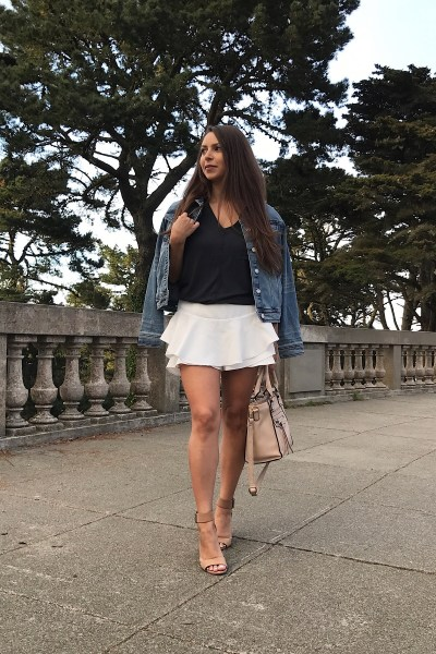 Ruffled Skort & Denim Jacket