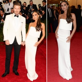 Although her posing style makes me cringe, I think the simplicity of this dress is nice and her and David look stunning together in white.