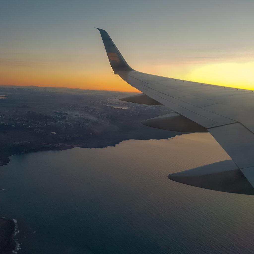 Vue depuis l'avion au départ