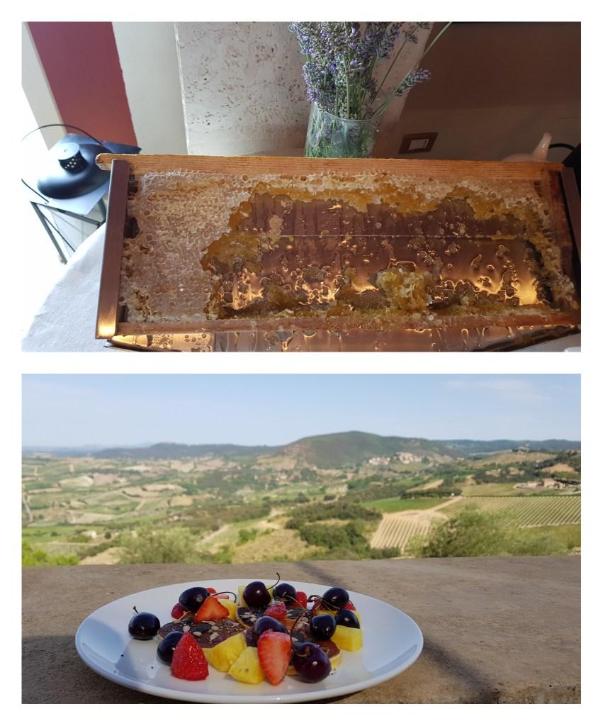 Le petit déjeuner au Castello di Velona, la perfection avec vue sur les collines toscanes