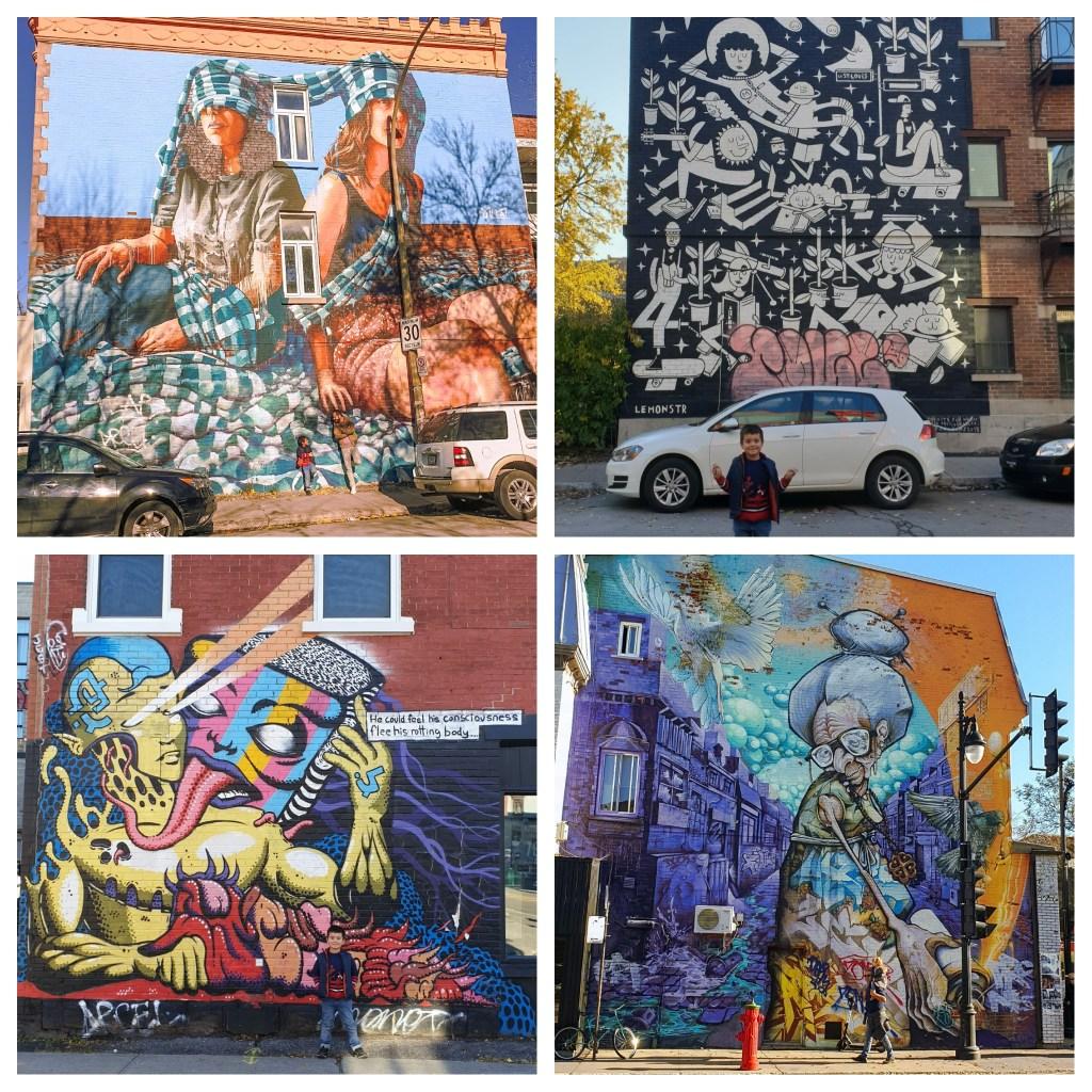 Admirer les oeuvres de street-art sur le boulevard Saint Laurent lors d'un voyage à Montréal en famille.