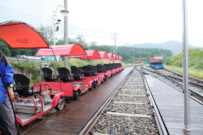 Rows of rail bikes