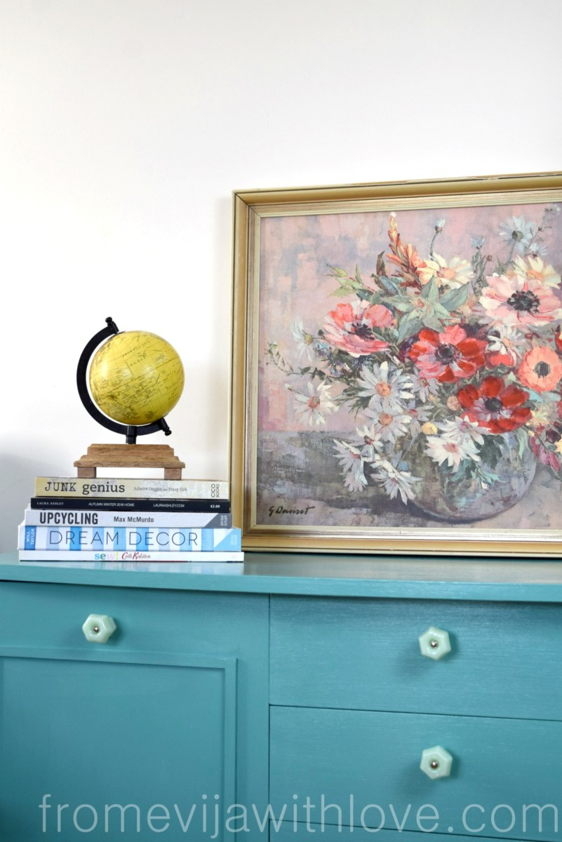 Turquoise Cabinet Makeover for Budget Craft Room