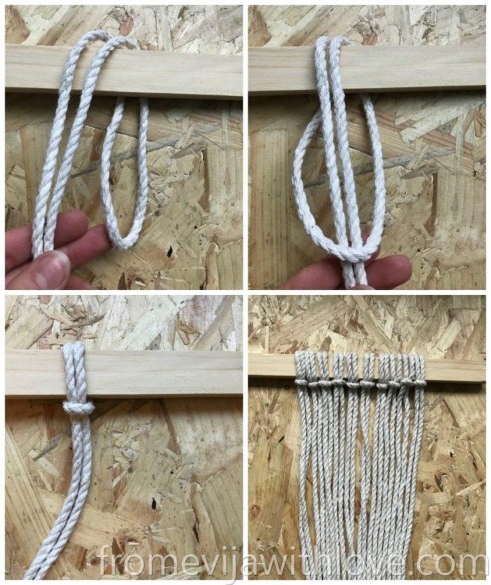 DIY macrame plant hanger knots