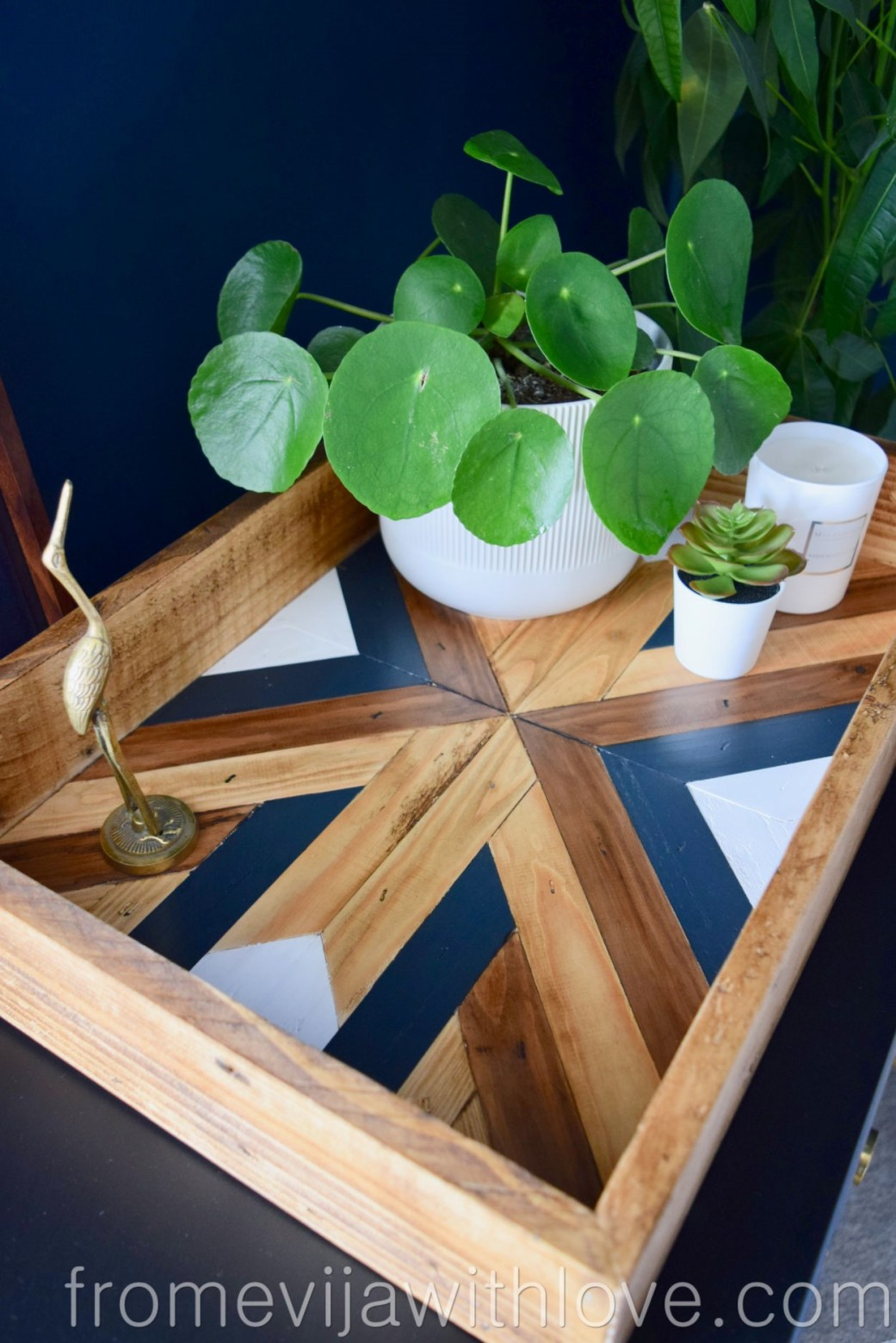 Decorative Geometric Wood Tray with various plants and candle