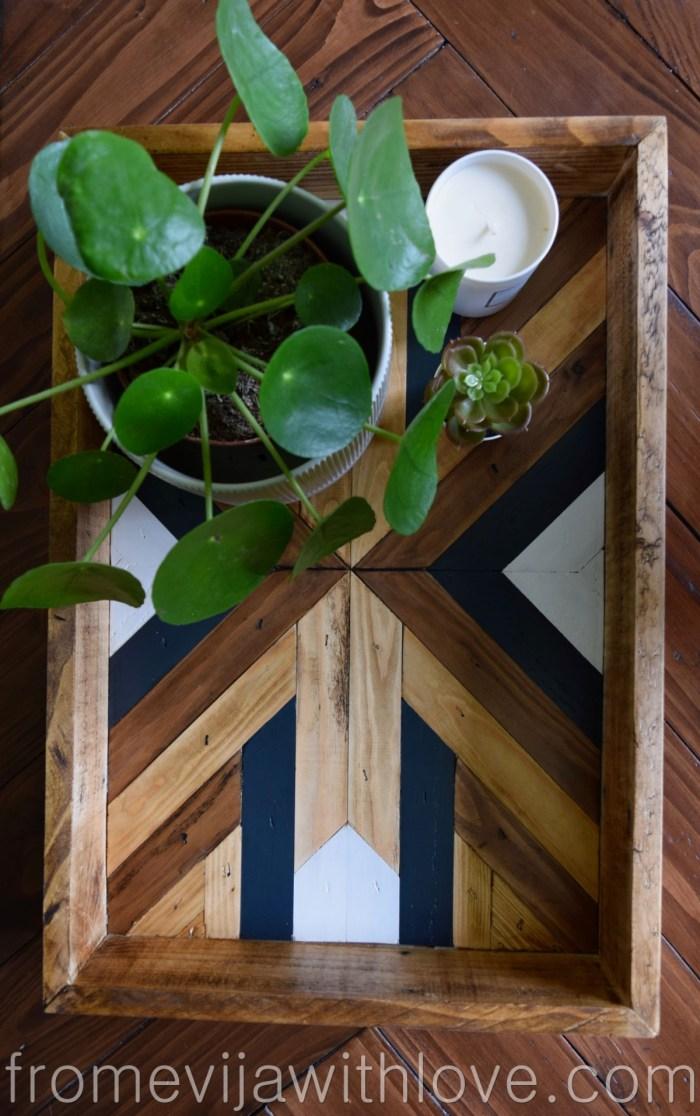 Beautifully Styled Decorative Geometric Wood Tray