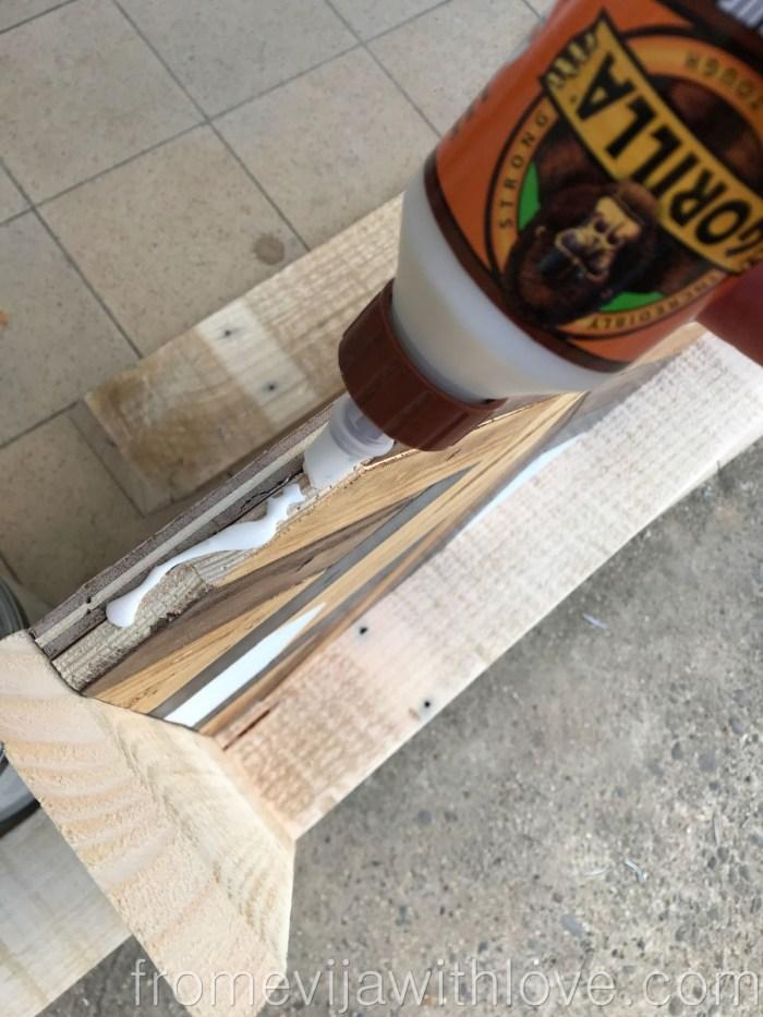 Decorative Geometric Wood Tray - gluing frame