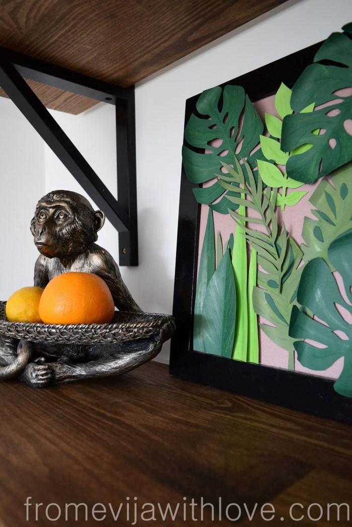 tropical leaf wall art DIY jungle art in a frame
