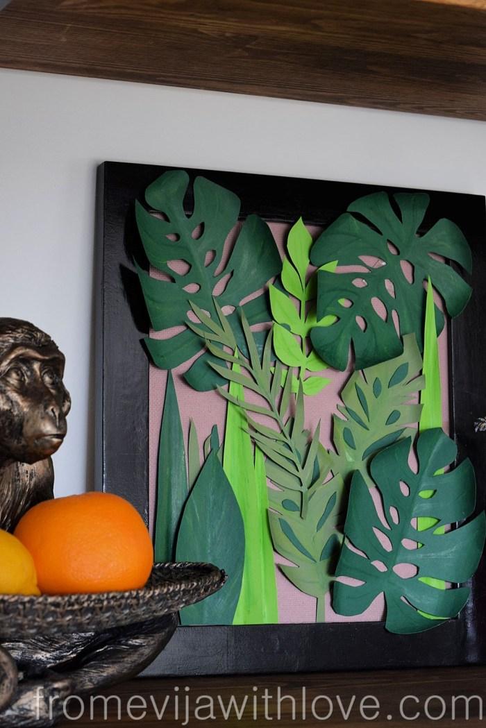 tropical leaf wall art DIY jungle art close up