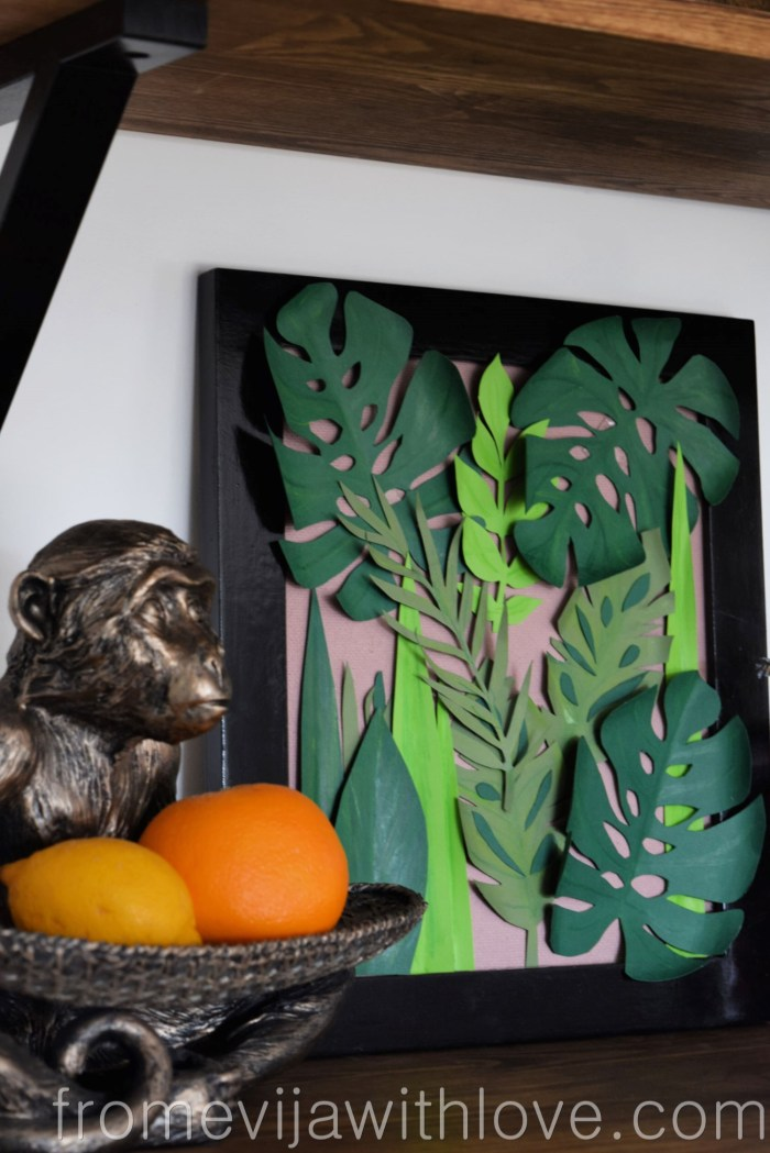 tropical leaf wall art DIY jungle art styled on shelf
