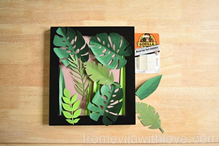 tropical leaf wall art DIY jungle art frame assembling