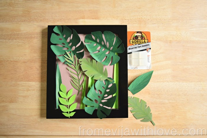 tropical leaf wall art DIY jungle art frame assembling