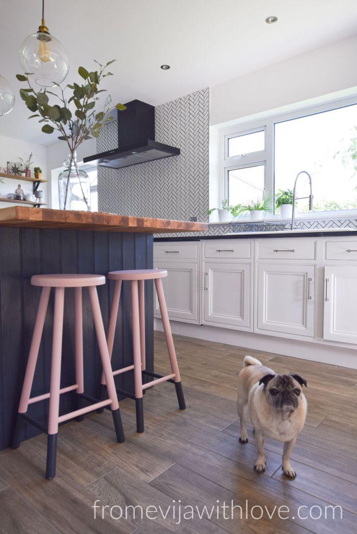 Kitchen renovation DIY project kitchen island pink bar stools
