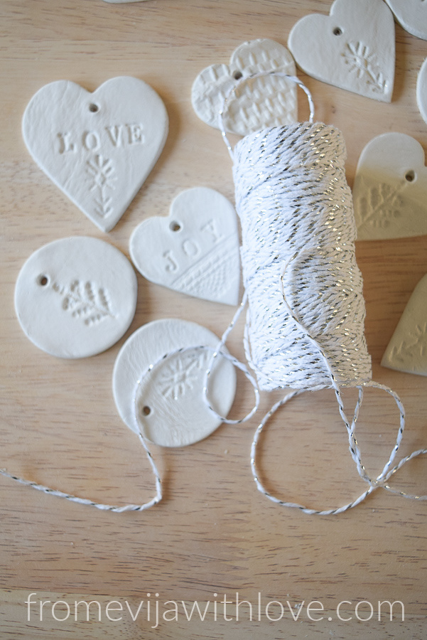 Christmas Ornaments made easy using air clay with silver string