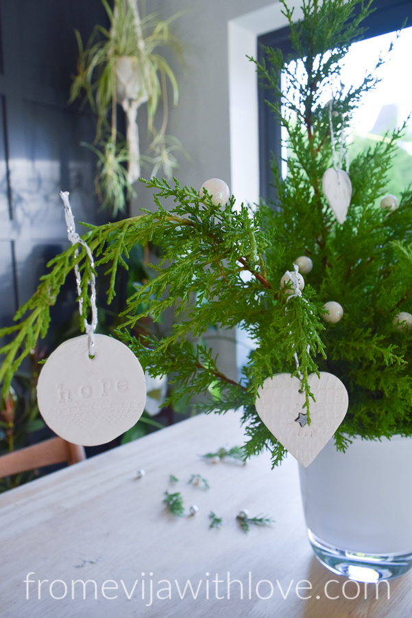 Christmas Tree and beautiful white air clay ornaments
