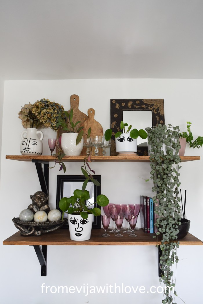 shelves with glasses and plant pots