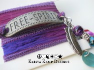 "The perfect wrap for your wrist! Splurge on yourself and grab this ""Free Spirit"" Silk Ribbon Wrap Bracelet."