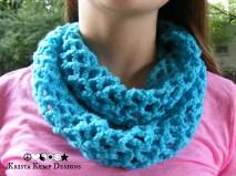 Blue crochet diamond mesh infinity scarf