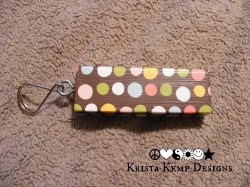 Brown Polka Dot Jenga Block Keychain