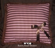 Pink and Chocolate Diamond Print Decorative Pillow-The perfect gift for any girl!