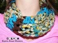 Multicolored crochet diamond mesh stitch infinity scarf