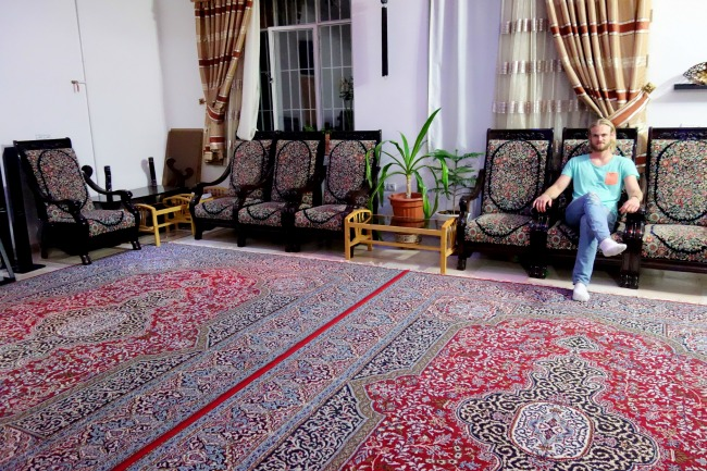 Typical Iranian home; not many furnitures but a lot of space for persian carpets