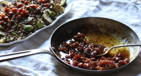Brussel Sprouts With Glazed Pancetta and Pecans