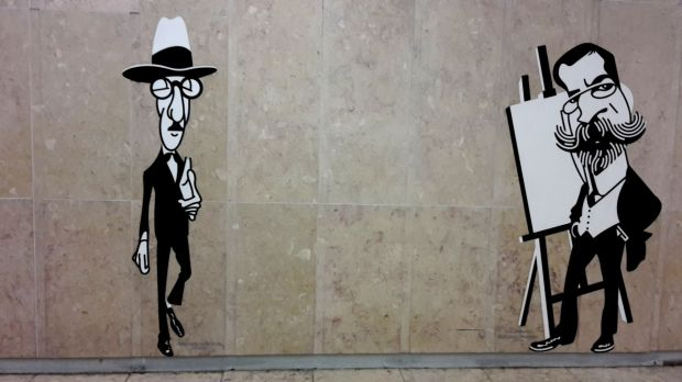 Pessoa at the Lisbon airport metro station