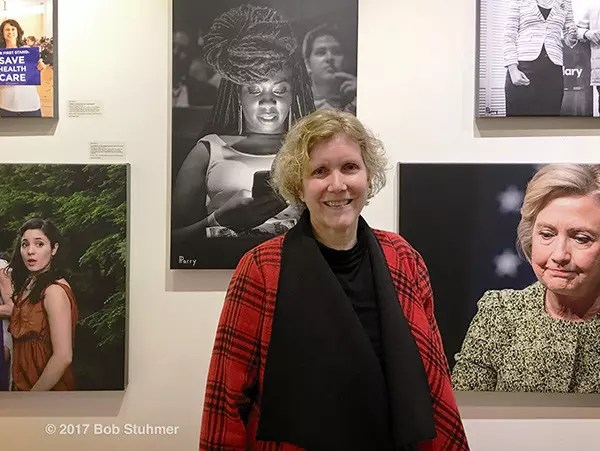 "Huntington, New York, USA. March 5, 2017. Artist Ann Parry at Opening Reception for ""Her Story Through Art"" Invitational Art Show, celebrating Women's History Month, at Huntington Arts Council, Main Street Gallery. Ann Parry, Show March 2 - 25, 2017."