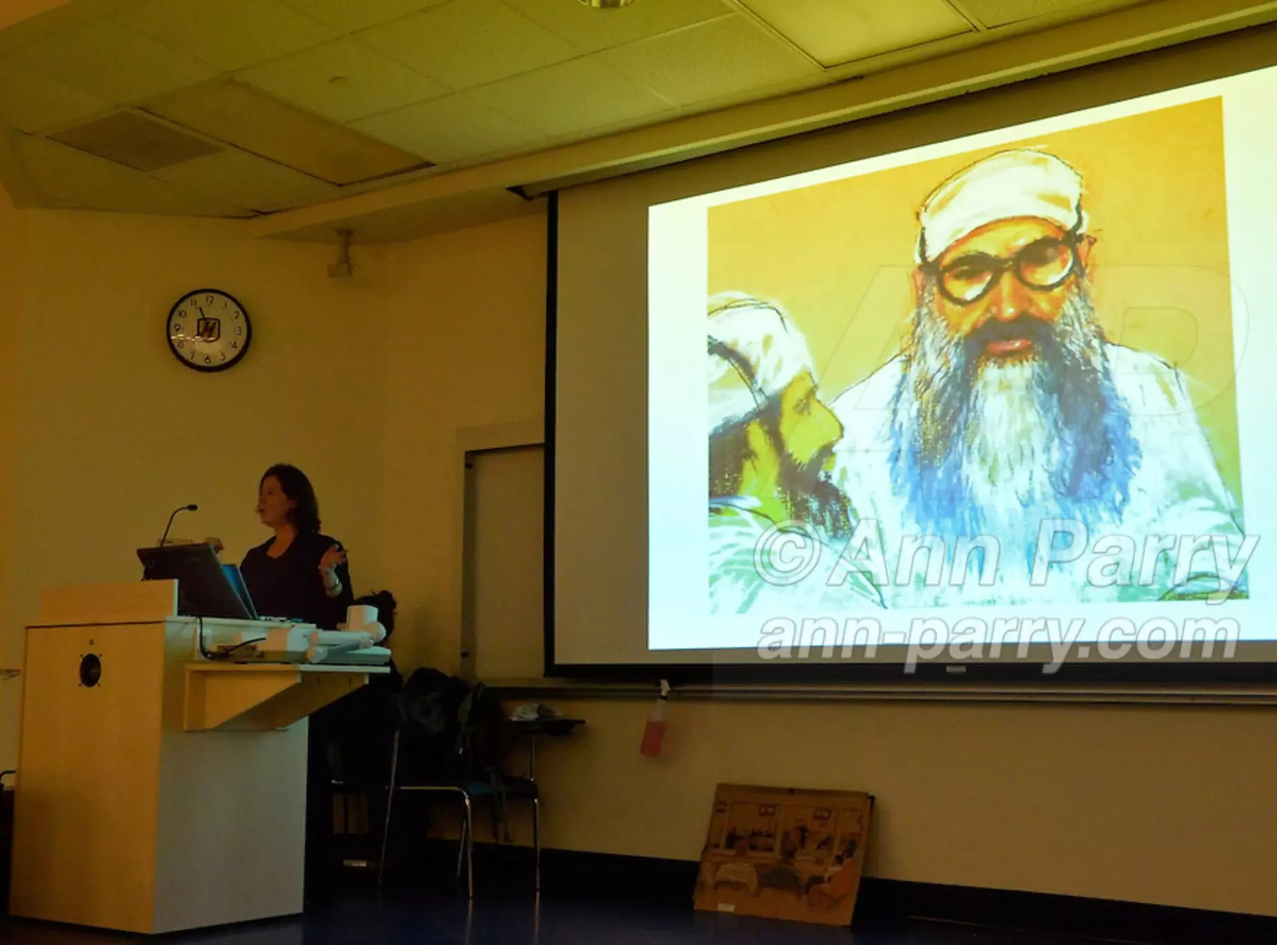 Hempstead, NY, U.S. 12th Nov. 2013. JANET HAMLIN, a courtroom artist covering the military tribunals at Guantanamo Bay since 2006, shows her drawings and discusses her work at Hofstra University. Much of the time she was the only journalist providing a visual record of the events at the United States naval base in Cuba, and her new book 'Sketching Guantanomo' is a collection of her images.