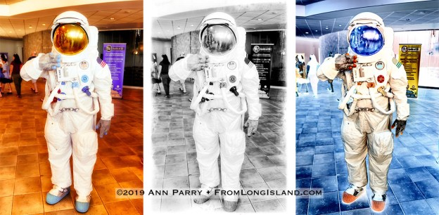 Garden City, NY, U.S. July 20, 2019. TOM RUHLE wears NASA space suit at the Moon Fest Apollo at 50 Countdown Celebration at Cradle of Aviation Museum in Long Island