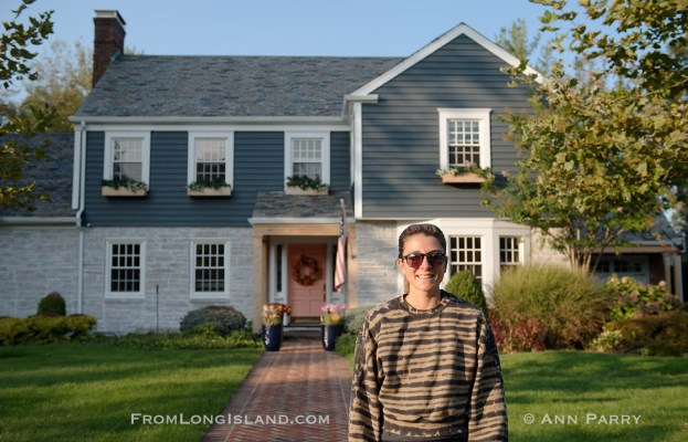 Rockville Centre, NY, U.S. Sept. 21, 2020. CHLOE SCHIELE is in front her home, where Ruth Bader and Martin Ginsburg were married in 1954. The Schiele family bought the Colonial home in Rockville Centre, Long Island, in 2016.