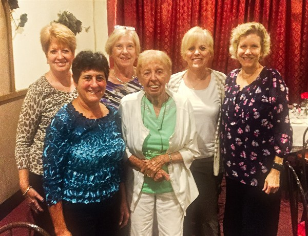 Massapequa, NY, U.S. Front row, L-R: ANDREA GWOSDOW, PAT BLOODGOOD; Back row, L-R: JANE KLINE, ANN SULLIVAN, JOYCE CHINSKY, ANN PARRY are at Grand Girls annual reunion at Sergio's Italian Restaurant. (Thank you, Jane, for sending photo)