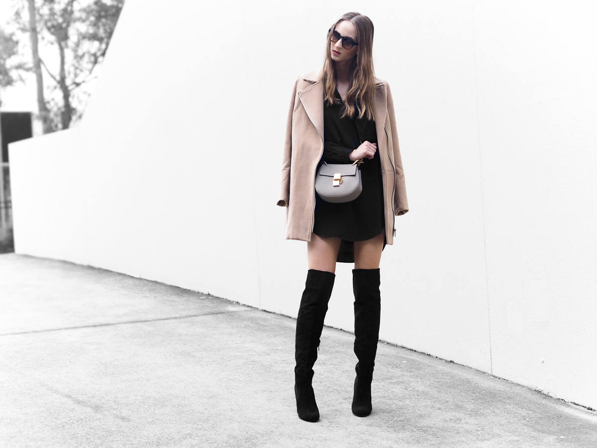 All Black Over the knee boots outfit