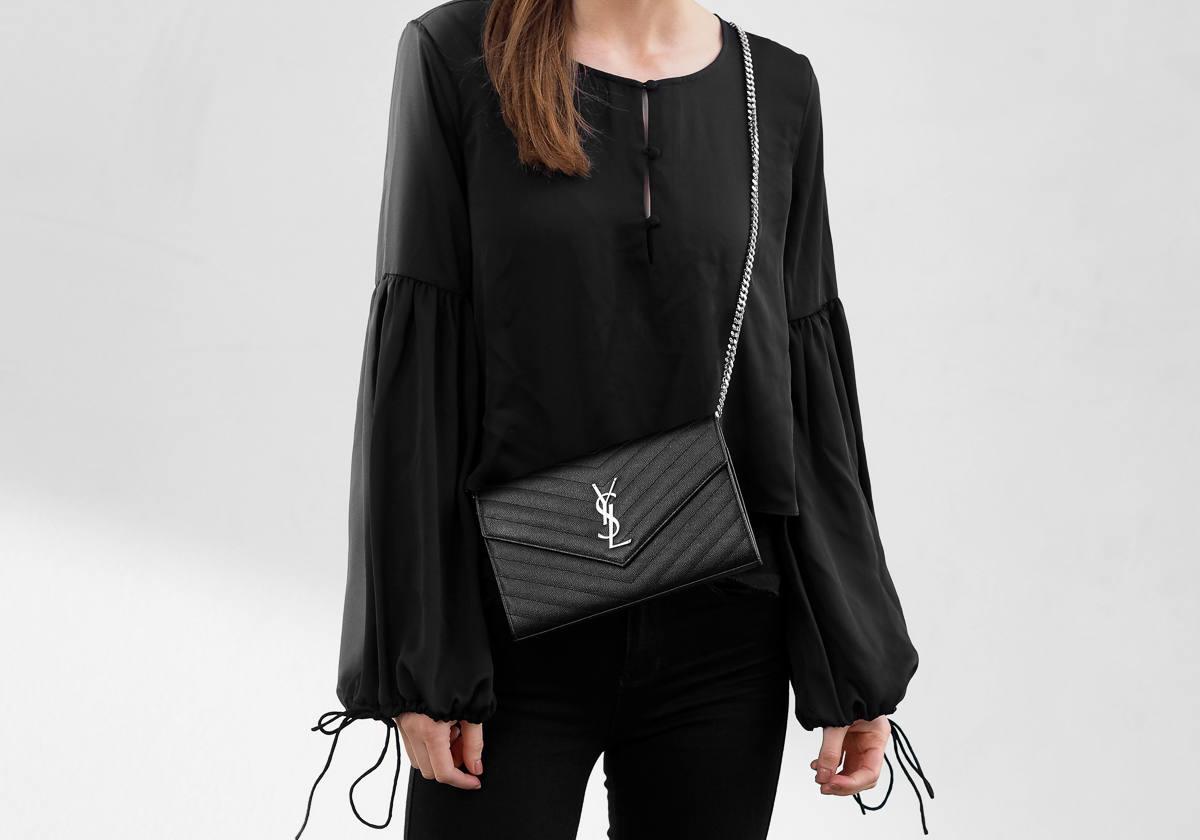 L'Academie The Airy Blouse Saint Laurent Bag All Black Outfit