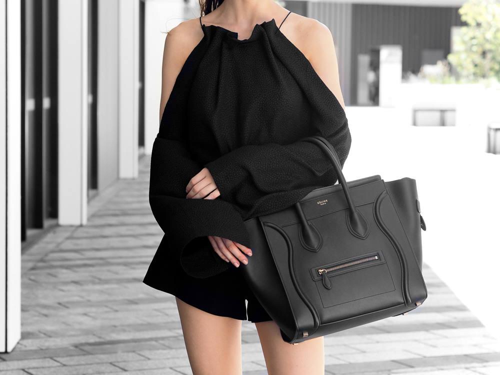 Celine Mini Luggage Bag Black Outfit Fashion Blogger ... 00a3f657c848c