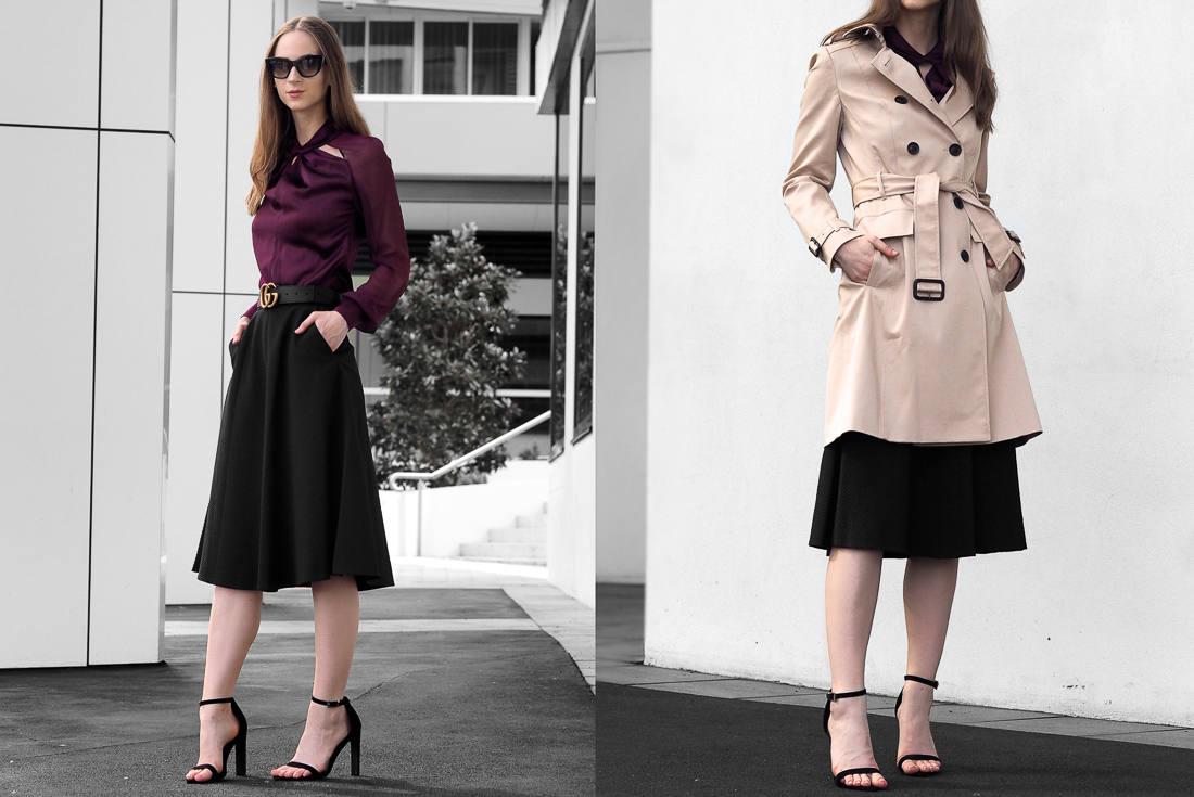Karen Millen Knot-Neck Top, A-Line Skirt and Classic Trench Coat