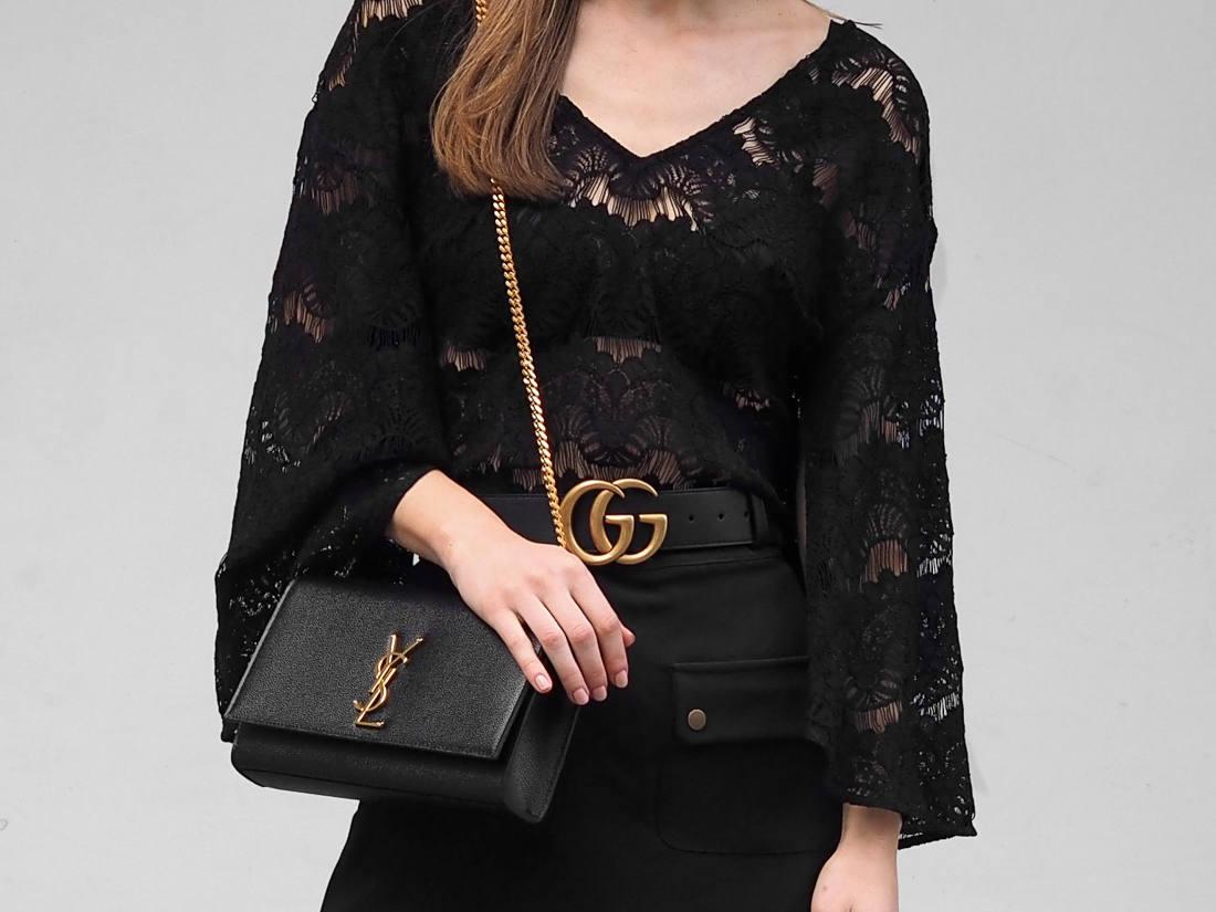 Saint Laurent medium bag Gucci belt outfit