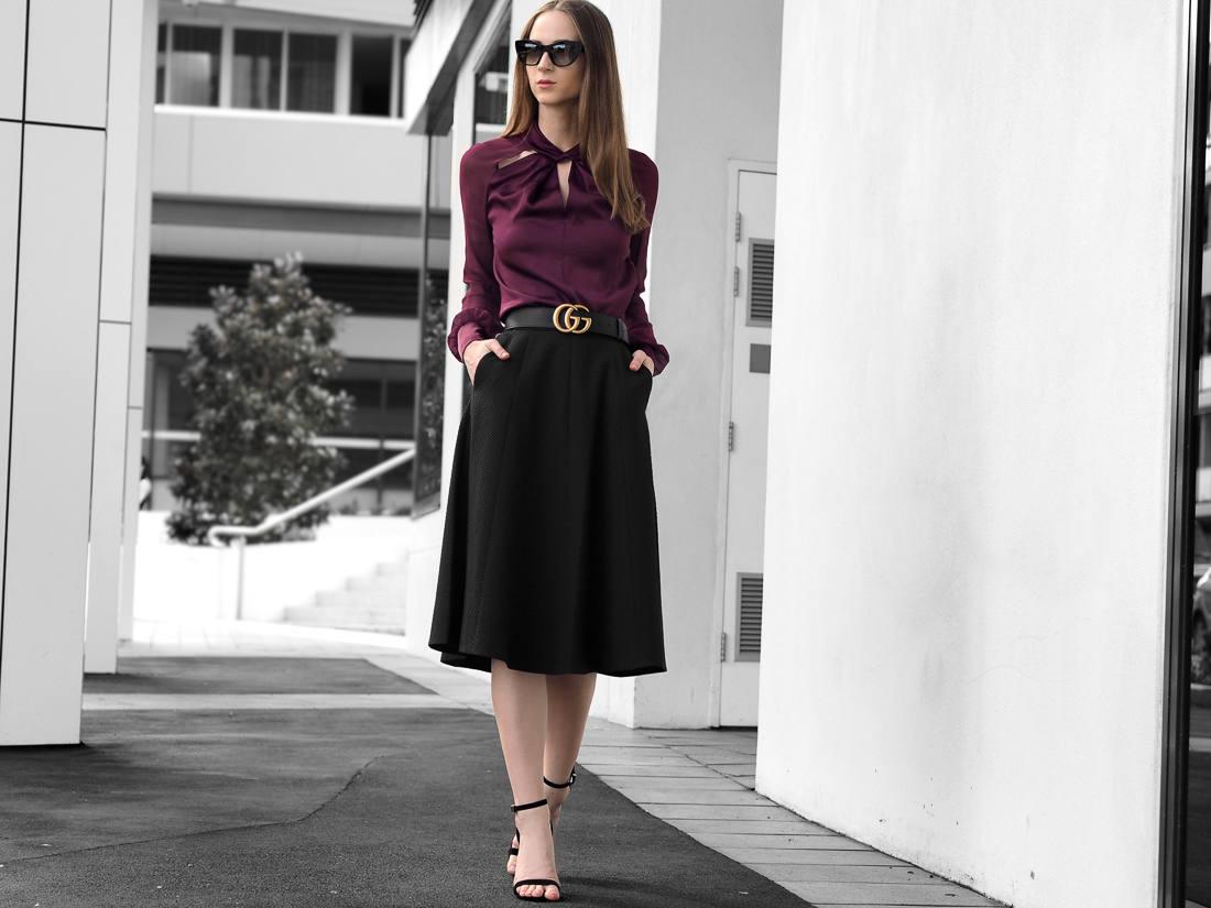 Karen Millen Knot-Neck Top, A-Line Skirt outfit