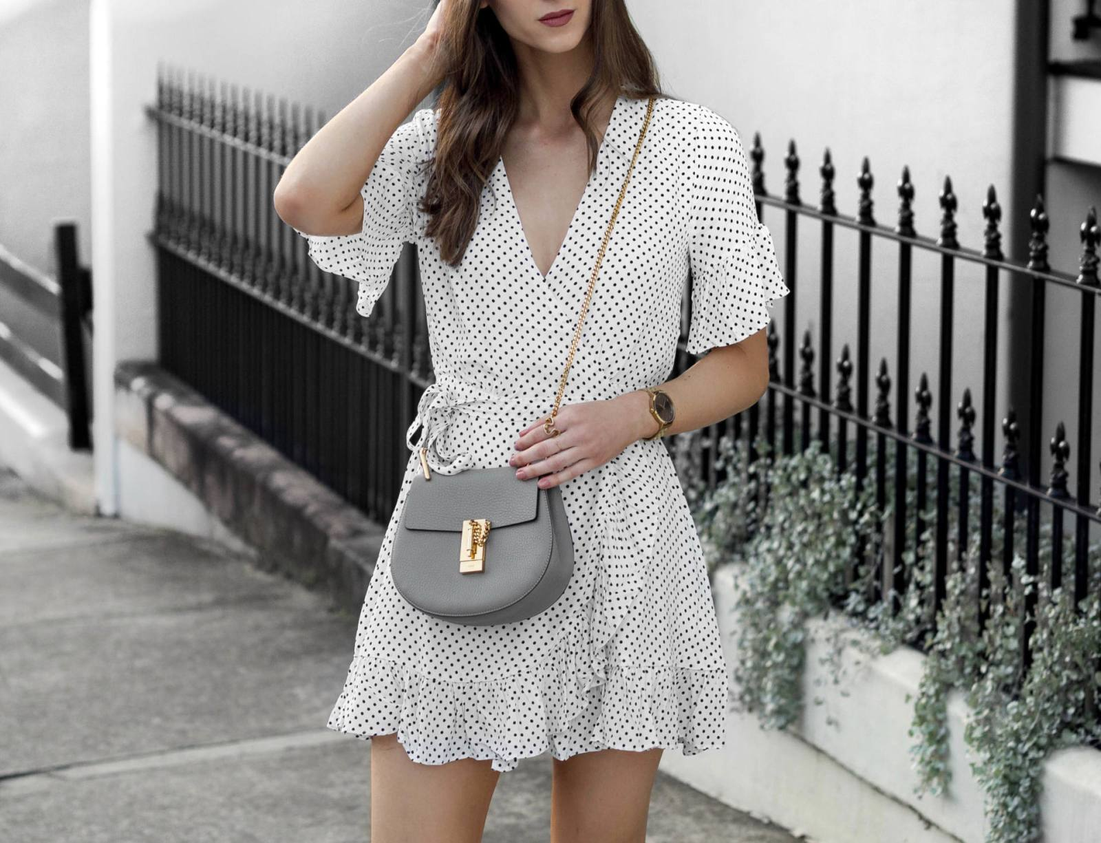 Summer Dress Chloe Drew Bag Taupe Grey Outfit