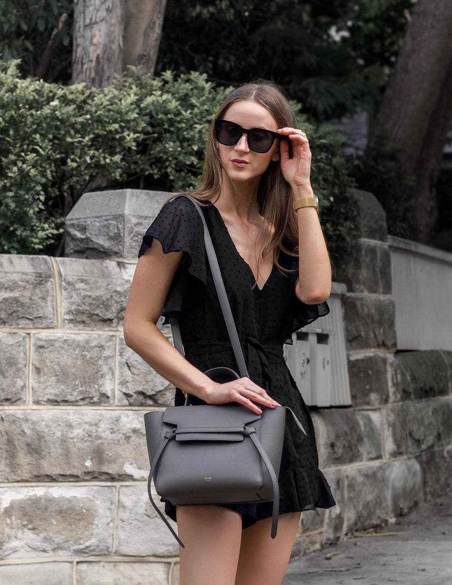 Celine Micro Belt Bag grey outfit