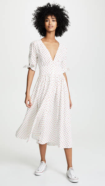 Nightwalker Ludlow Polka Dot Midi Dress