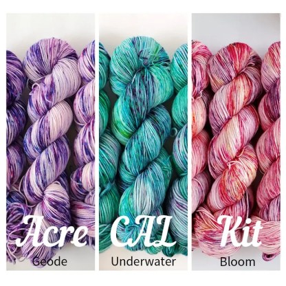 ACRE Crochet along Kits, the 3 colorway combination of 'Geode', 'Underwater' and 'Bloom'