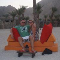 honeymoon drinks on the beach at the Zighy Bay