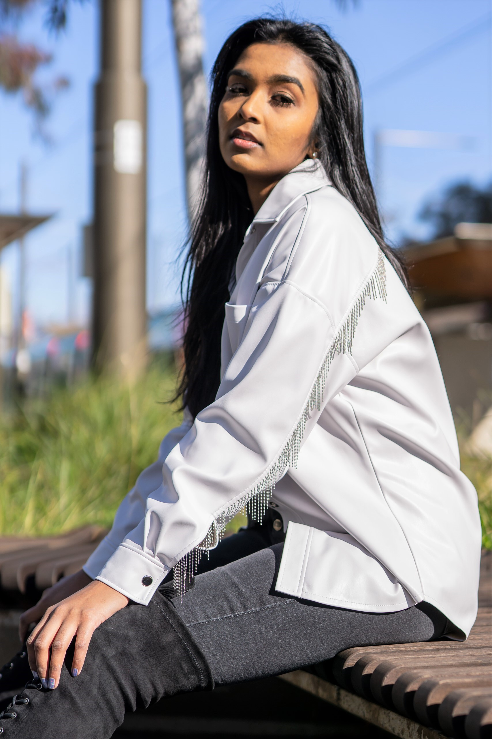 White leather shirt-jacket
